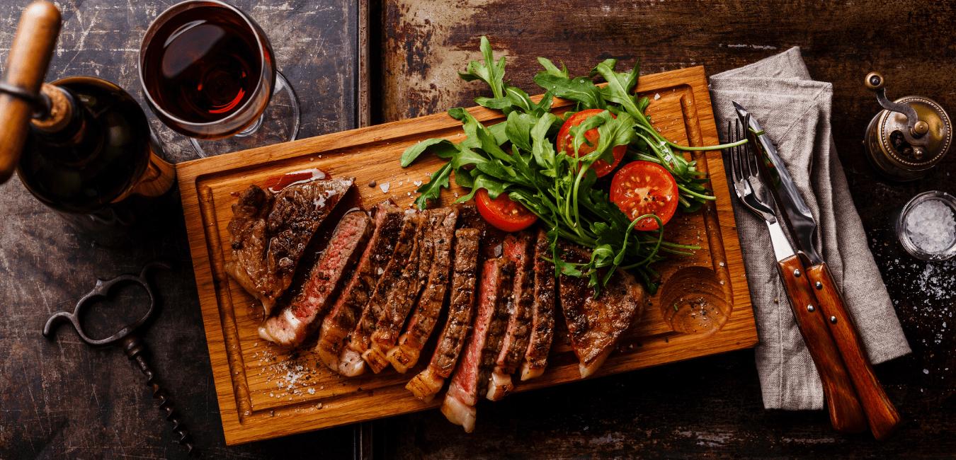 steak on a cutting board.