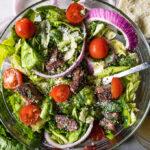 steak fajita salad shot from above