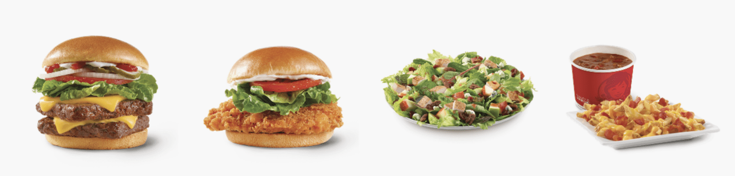 Burger, chicken sandwich salad, chili and fries as options at Wendy's.