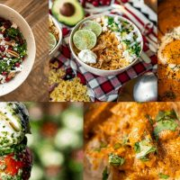 Healthy holiday meals collage. Caprese salad, goat cheese salad, soup, shakshuka and butter chicken