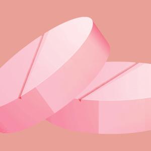 light pink pill on dark pink background