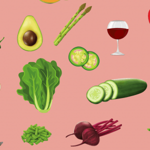 various fruits and veggies in a collage
