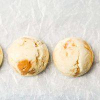 horizontal line ups of cheesecake fat bombs