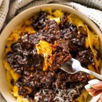 short rib ragu with pasta on a fork