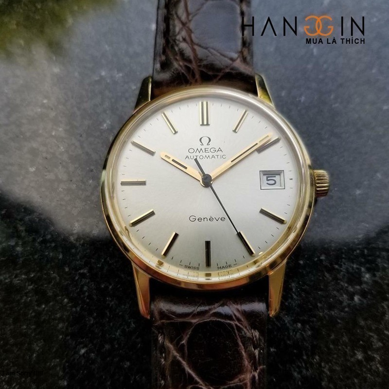 Omega Vintage Geneve Automatic 1960s 9k Solid Gold Mens Watch - 1