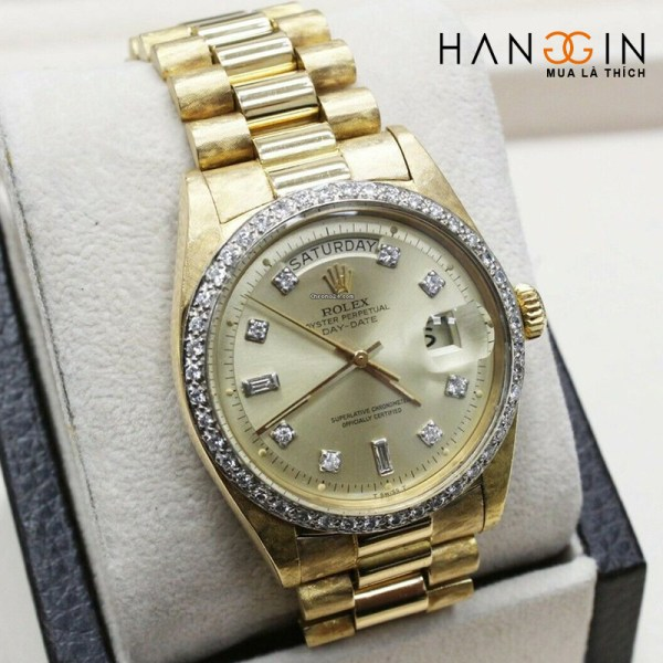 Rolex President Day Date 1803 Diamond Dial Bezel 18k Yellow Gold Florentine - 1
