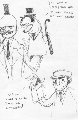 A Villain that has a Snake Puppet and Man with a Tsundere Penguin Puppet