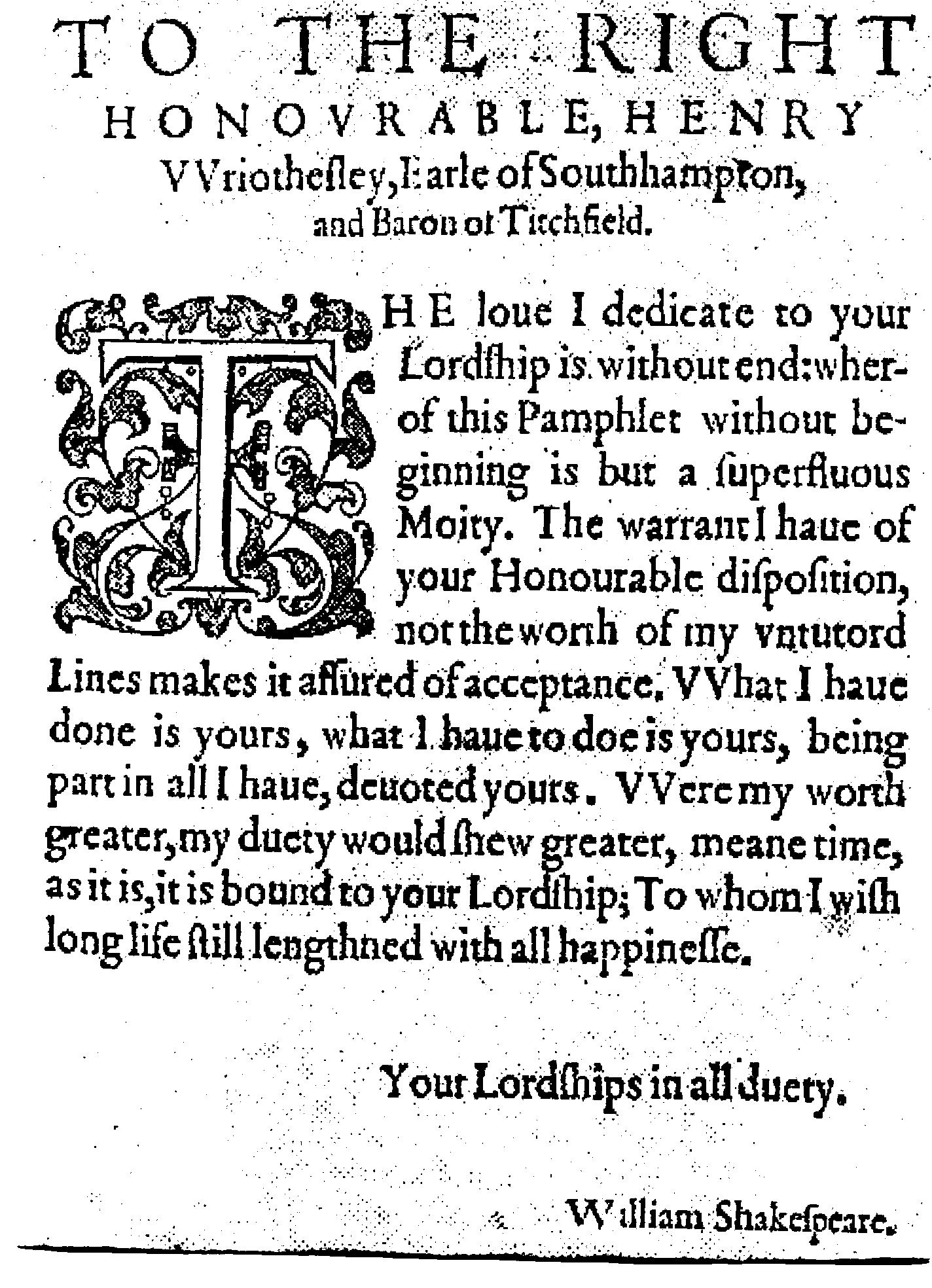 """The dedication of """"Lucrece"""" to Southampton in 1594, ending with the words """"all happinesse"""""""