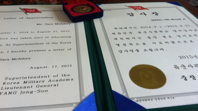 Apparently, I was the first 원어민강사 (native English-speaking lecturer) to be presented with a 감사장 (certificate of appreciation)... I think the superintendent liked our army love story.
