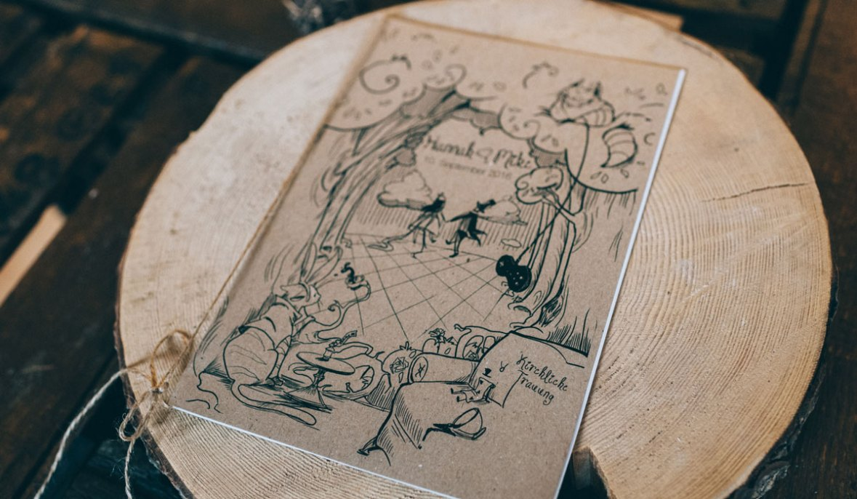 Kirchenheft Hochzeit Kirche Trauung Heft Hochzeit Kraftpapier Do it yourself Vintage Alice im Wunderland