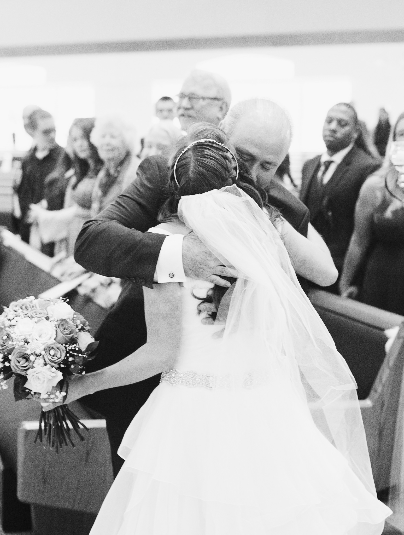 washington dc church wedding - dad hugs