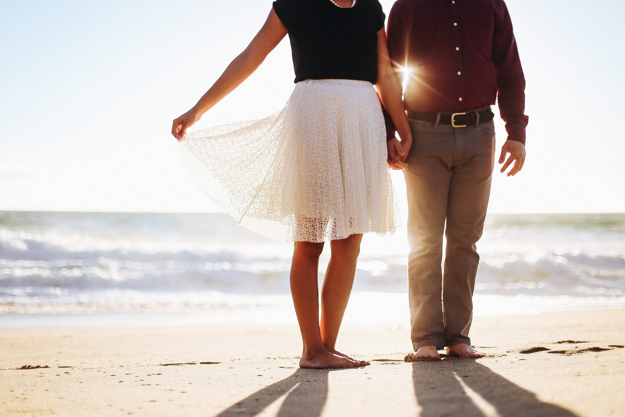 classy beach engagement session in malibu (point dume state beach, california)
