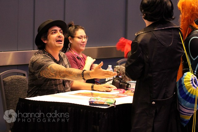 Voice actor Robbie Daymond greeting attendees