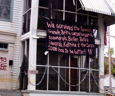 This was a sign created by a NOLA resident. This photo was taken in February 2006.