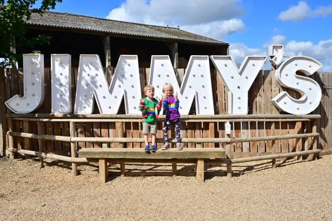Twins at Jimmy's Farm on a staycation in Suffolk
