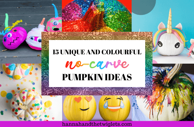 colourful no-carve pumpkin ideas for Halloween