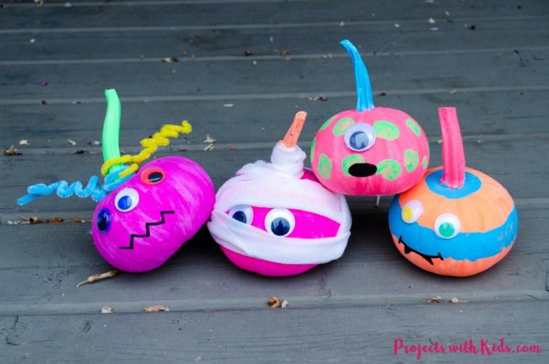 No-carve pumpkin ideas neon monsters