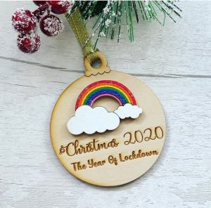 rainbow lockdown Christmas bauble