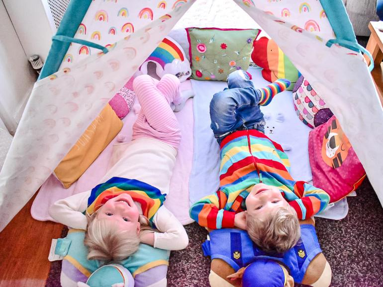 twins in den during lazy half term