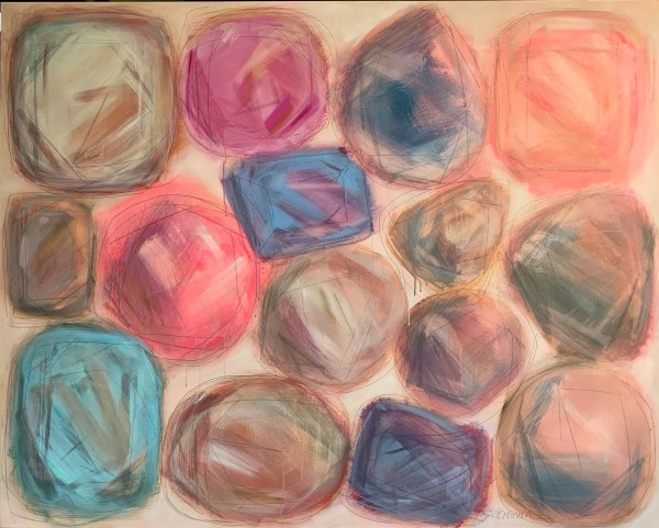 large scale bold acrylic painting of colorful abstract gemstones by the Dallas artist Hannah Brown