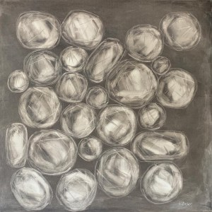 Large oil painting of rose cut diamonds on a soft and elegant grey background painted by Dallas, Texas artist Hannah Brown.