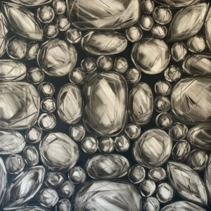 large scale oil painting of rose cut diamonds on a dark grey background