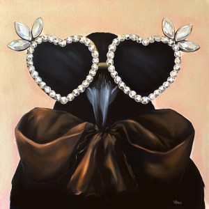 bold and playful large scale oil painting of a crow wearing heart shaped diamond sunglasses and a large silk brown bow painted by Dallas, Texas artist Hannah Brown