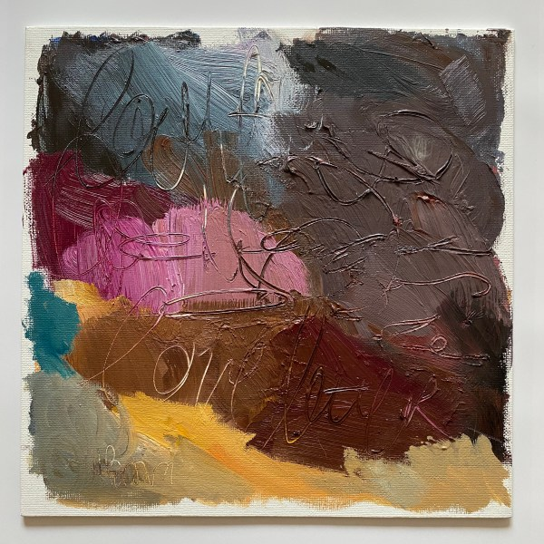 Heavy textural oil palette painting with rich purple, plum, and brown tones painted by Dallas, Texas artist Hannah Brown