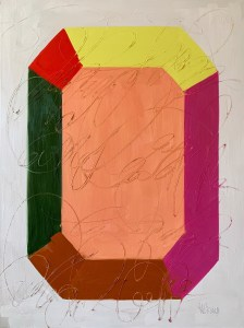 large scale oil painting of bold, colorful, and modern minimalist gemstone painted by Dallas, Texas artist Hannah Brown