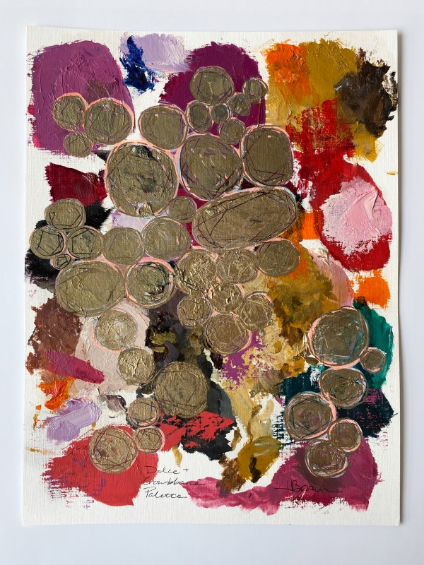 oil paint palette and gold pen Dallas, Texas artist Hannah Brown used to paint Dolce & Crowbbana