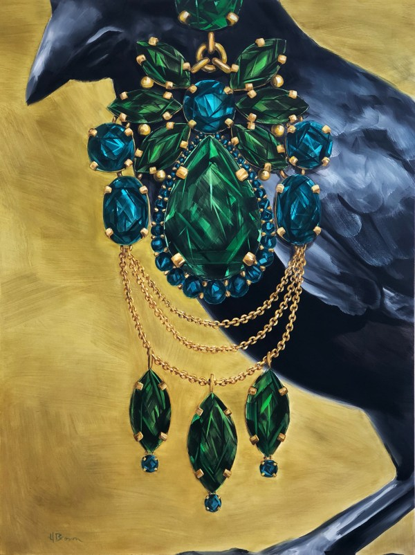 large scale oil painting of a crow wearing an oversized emerald and tourmaline earrings painted by Dallas, Texas artist Hannah Brown