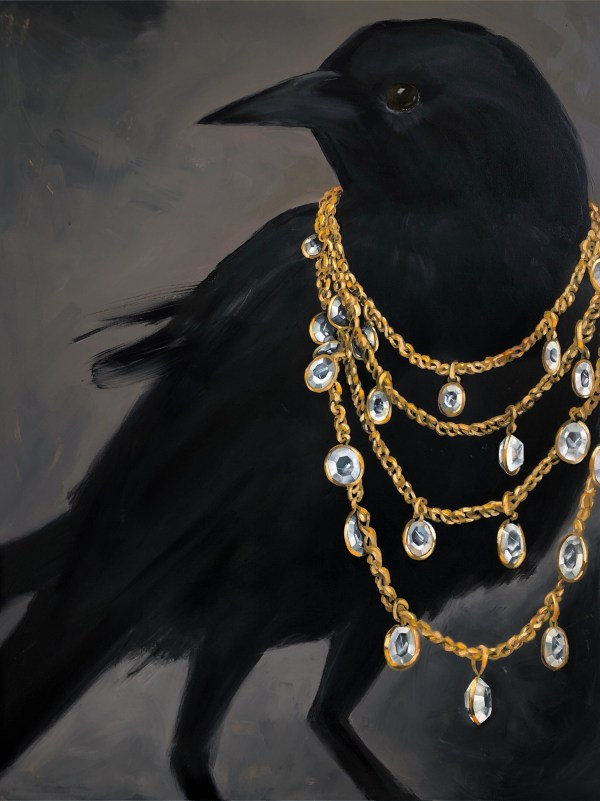 large scale oil painting of a black crow wearing a diamond and gold chain necklace painted by Dallas, Texas artist Hannah Brown