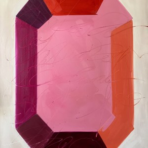 large scale oil painting of a bold, colorful, and modern minimalist gemstone painted by Dallas, Texas artist Hannah Brown