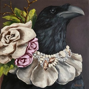 commissioned oil painting portrait of a crow wearing a diamond, pearl, and flower petal necklace by Dallas, Texas artist Hannah Brown