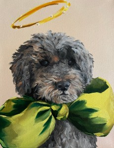 commissioned oil painting dog portrait of a small grey dog with curly fur wearing an oversized green bow and a halo by Dallas, Texas artist Hannah Brown