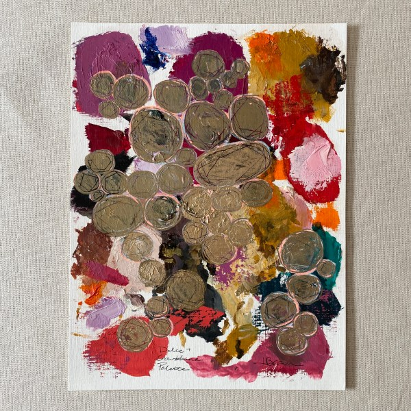 oil paint palette and gold pen Dallas, Texas artist Hannah Brown used to paint Dolce & Crowbbana.