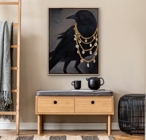 Large scale oil painting of black dramatic black crow wearing a diamond and gold chain necklace painted by Dallas, Texas artist Hannah Brown