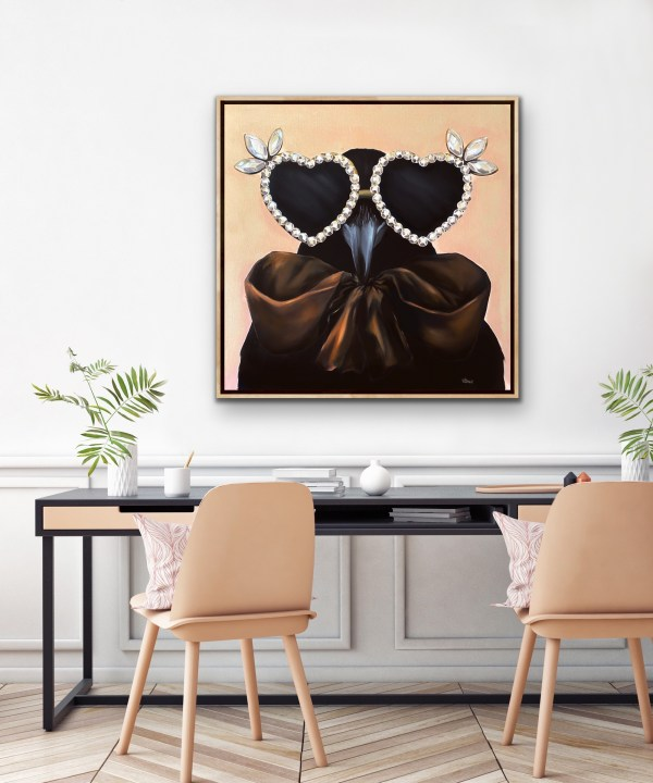 bold and playful large scale oil painting of a crow wearing heart shaped diamond sunglasses and a large silk brown bow painted by Dallas, Texas artist Hannah Brown displayed in a modern and feminine room