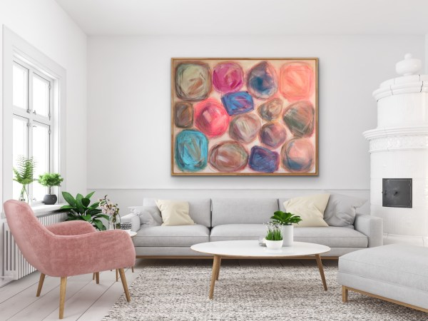Feminine room displaying large scale bold acrylic painting of colorful abstract gemstones by the Dallas artist Hannah Brown