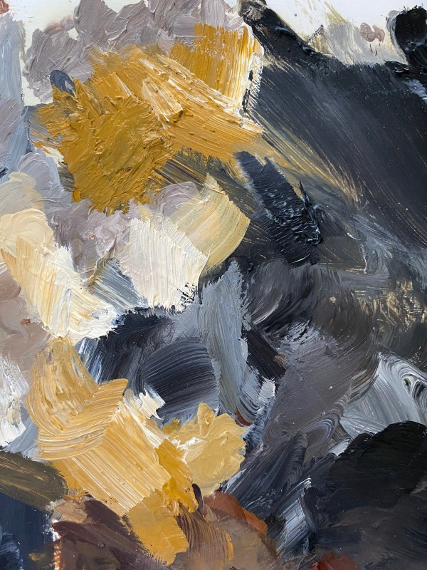 detail image of paint palette Dallas, Texas artist Hannah Brown used to paint King Pavé
