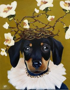 commissioned oil painting dog portrait of a dog with a diamond and pale pink tulle necklace with a twig and flower crown by Dallas, Texas artist Hannah Brown