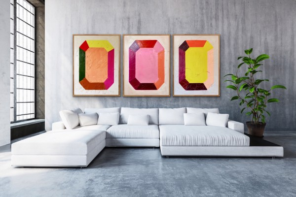 Room displaying three large scale oil painting of a bold, colorful, and modern minimalist gemstone painted by Dallas, Texas artist Hannah Brown