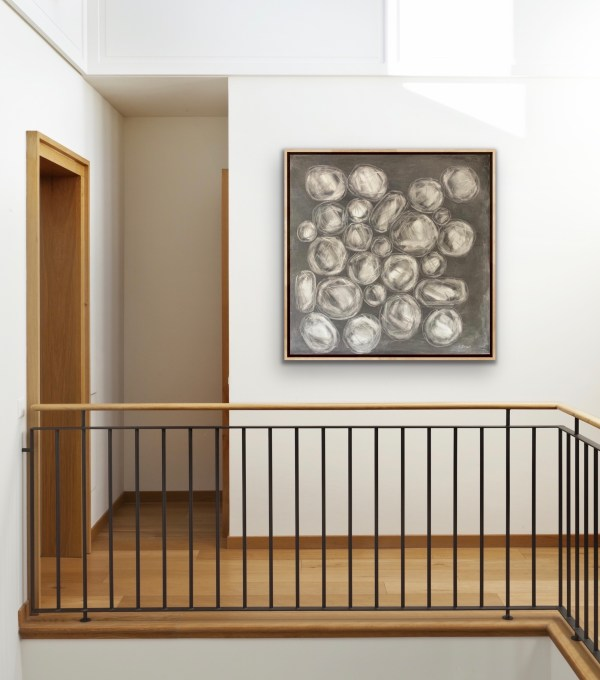 Minimalist and modern room displaying a Large oil painting of rose cut diamonds on a soft and elegant grey background painted by Dallas, Texas artist Hannah Brown.