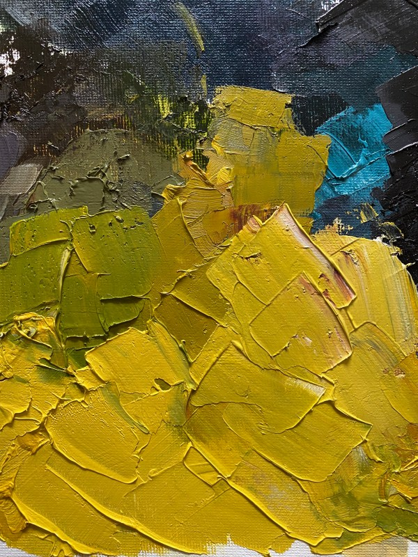 detailed image of a Heavy textured oil paint palette with golden browns, rich blues and greens, and bright chartreuse colors painted by Dallas, Texas artist Hannah Brown