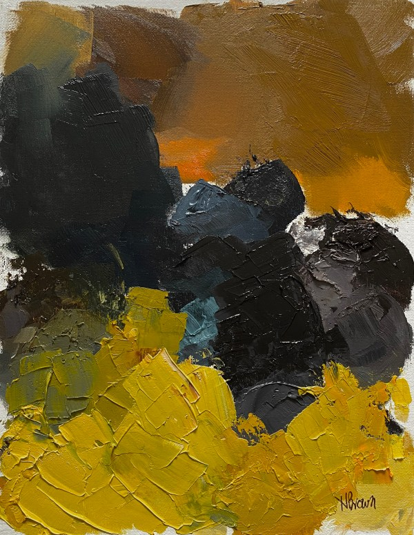 Heavy textured oil paint palette with golden browns, rich blues and greens, and bright chartreuse colors painted by Dallas, Texas artist Hannah Brown