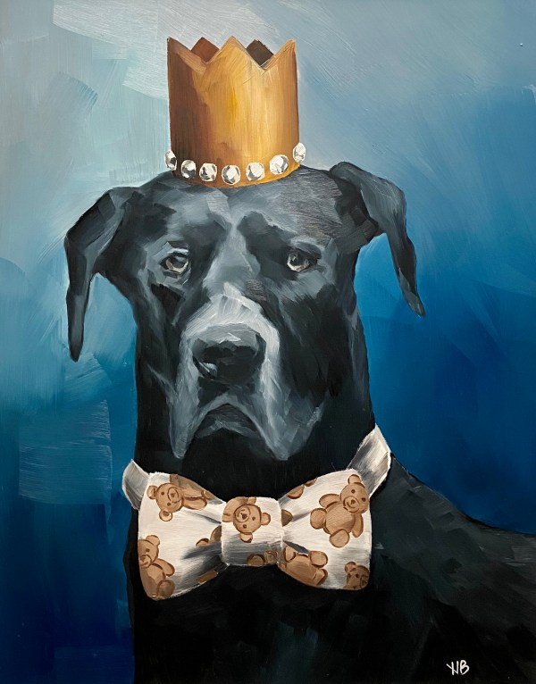 Black Great Dane dog portrait wearing a gold crown and a teddy bear print bow tie with a blue background painted by Dallas, Texas artist Hannah Brown
