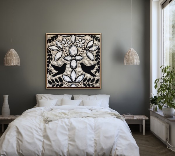 Elegant and modern room displaying a Large acrylic painting inspired by the intricate embroidery of a black, white, and cream Dior dress with birds and diamonds painted by Dallas, Texas artist Hannah Brown