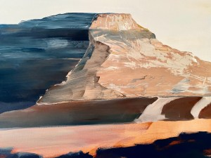 Detailed image of a Large scale oil painting of a southwestern desert landscape painted by Dallas, TX artist Hannah Brown.