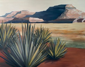Large scale oil painting of a southwestern desert landscape painted by Dallas, TX artist Hannah Brown.