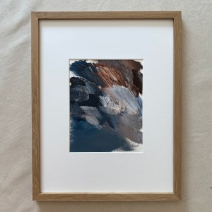 Framed abstract oil painting with heavy texture with grey, blue, and brown tones resembling a dramatic storms painted by Dallas, Texas artist Hannah Brown.